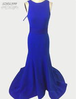 Robe De Soiree Evening Party Dress Real Photos Simple Royal Blue Satin Evening Dress Backless Prom Gown Special Occasion Dress