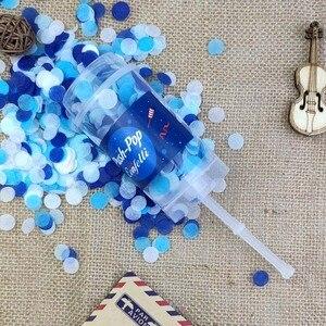Image 5 - 10 unidades/juego de Poppers de confeti de empuje para boda, feliz cumpleaños, confeti de sirena de papel azul y rosa de decoración para fiestas
