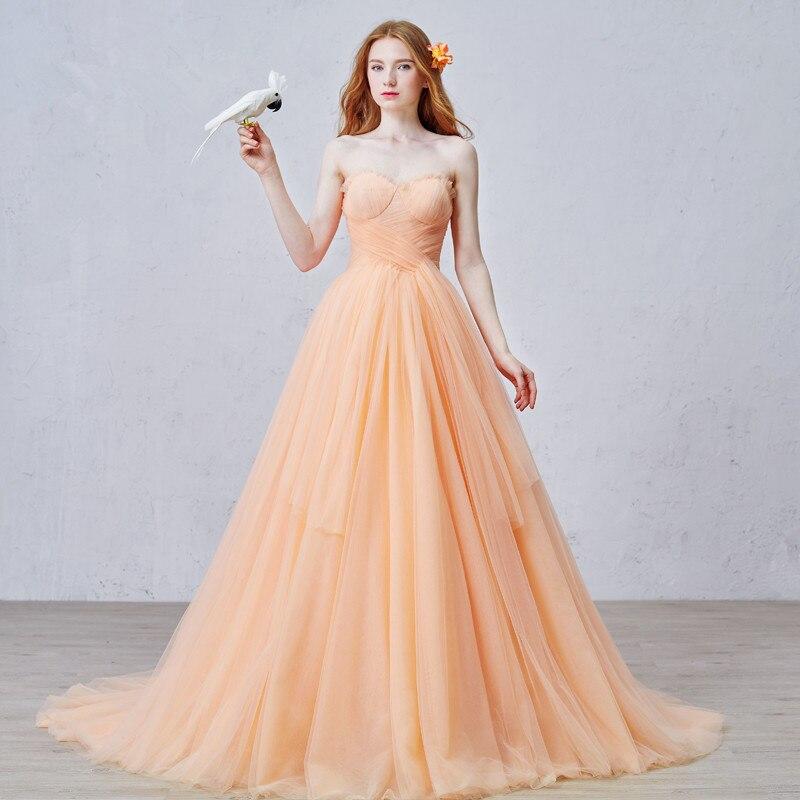 Simple Orange Wedding Dress