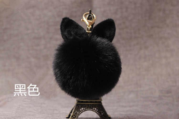 Coelho bonito Saco de Chaveiro Encantos Jóias Porte Clef Chaveiro Bola de Pêlo de Coelho Pompom Pompom de fourrure Mulheres