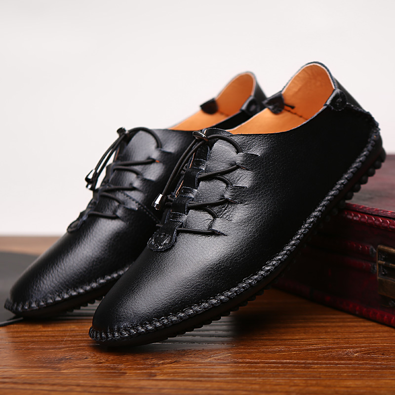 The New Men Casual Genuine Leather Shoes Cow Split Fashion Lace-Up Hombre Brand Shoes Men Zapatillas Hombre