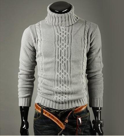 Hombre de cuello alto suéter y Pullovers tirón ocasional Homme ...