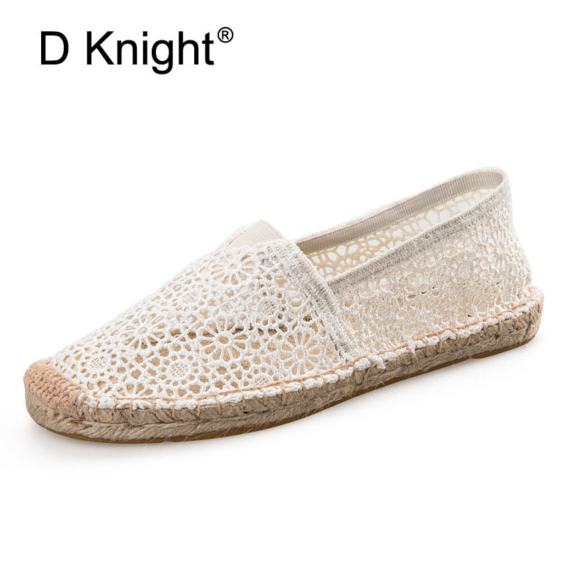 2018 Sandals Women Lace Espadrilles Breathable Lace Flats For Women Fashion Summer Ladies Slip-on Shoes Woman Casual Flat Shoes 2018 women summer slip on breathable flat shoes leisure female footwear fashion ladies canvas shoes women casual shoes hld919