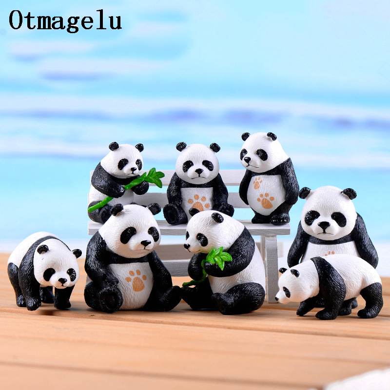 4pc Cute artificial Giant panda figurines miniatures animal ornament fairy garden gnome resin home decorations accessories