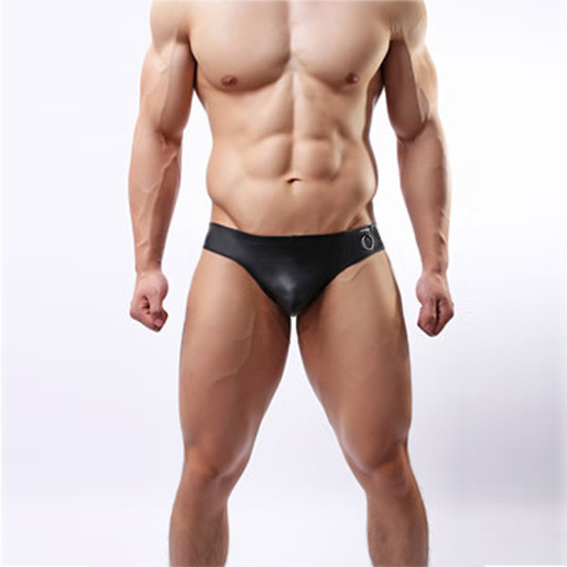 Fashion Men Underwear Sexy Wet Look Imitation Leather Low-rise Underwears Male Black Underpants Lingerie Briefs Shorts