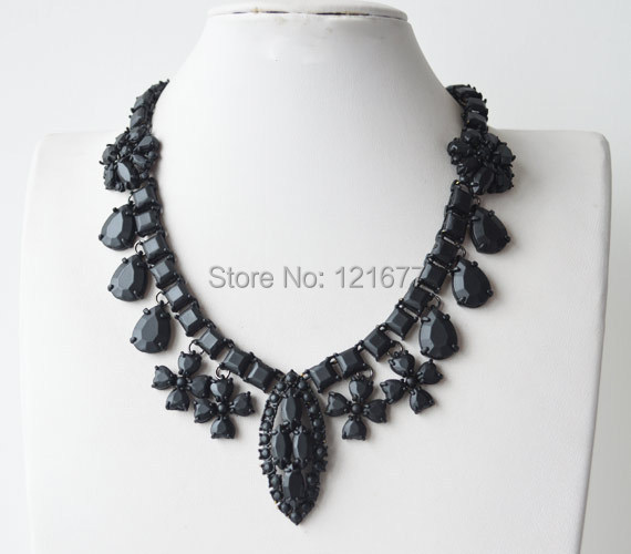 Luxury Vintage Brand Design Big Coated Crystal Geometric Statement Novelty Costume Necklace Collares Accessories Women Bijoux