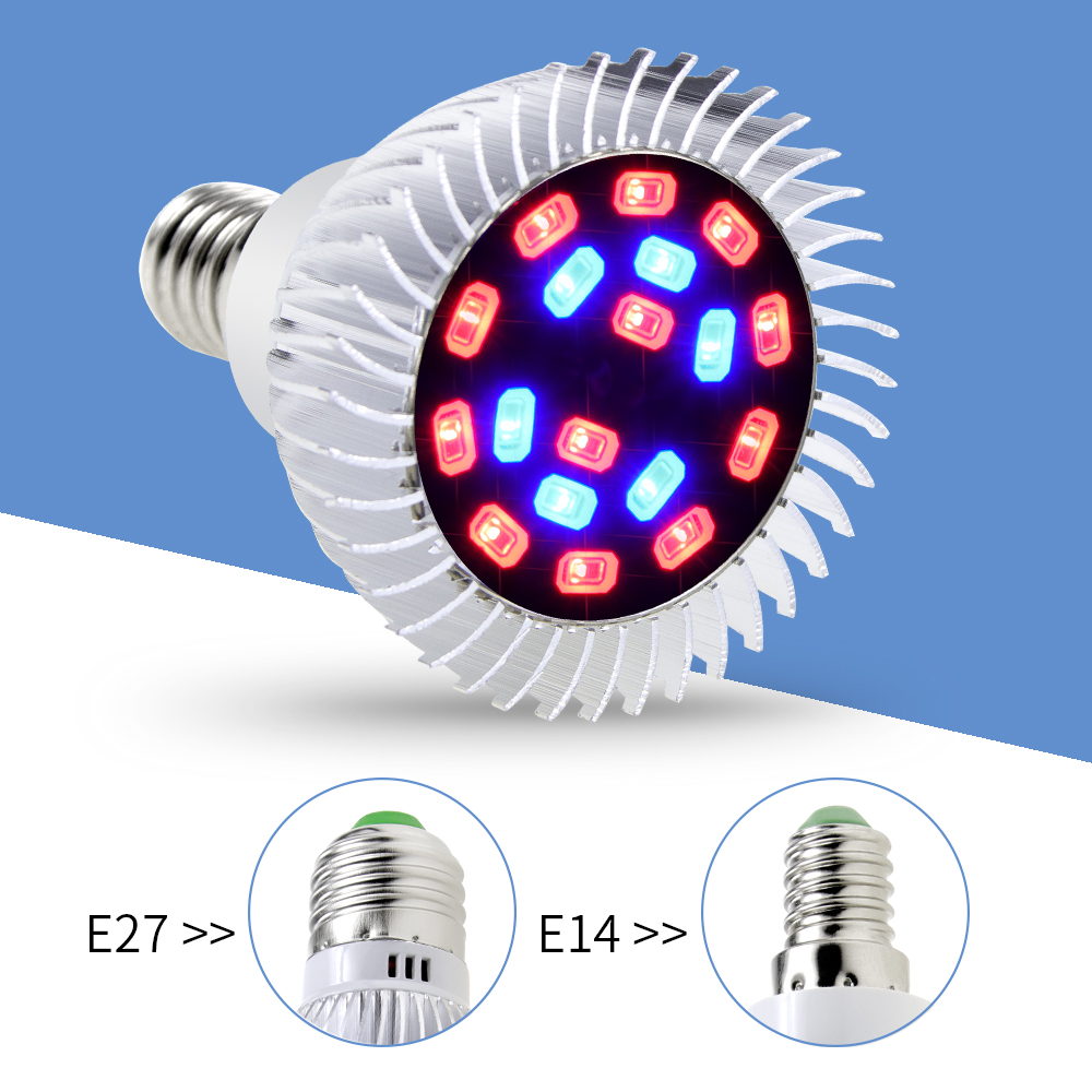 E27 Grow LED Plant Lamp 20W LED Full Spectrum Lamp E14 Fitolamp Hydroponic Light LED Growing Lights For Indoor Greenhouse Bulb in LED Grow Lights from Lights Lighting