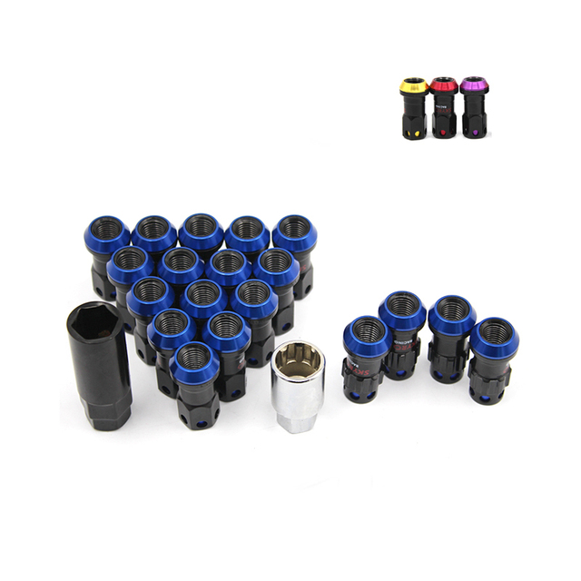 New Style Wheel Nuts Iron Racing Lug Nuts 20pcs lock racing lug nuts + 2 set security key M12*1.5 Wheel Screw Nuts YC100656