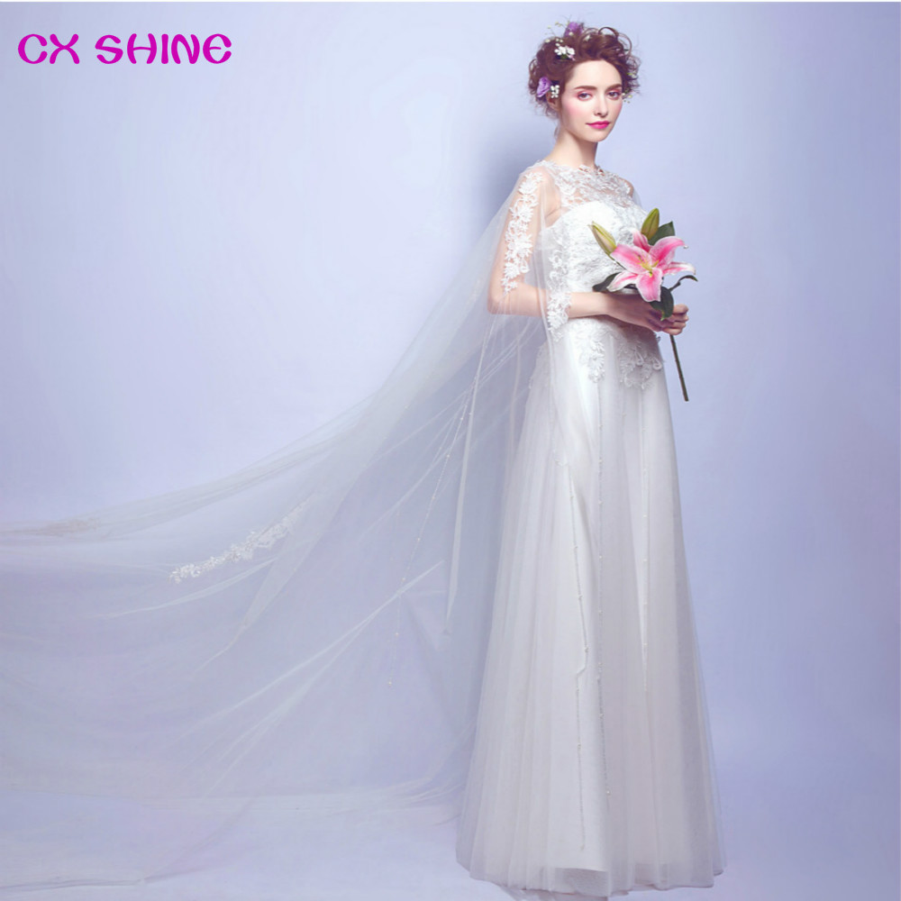 CX SHINE New Elegant Lace Flowers Shawl Train Wedding