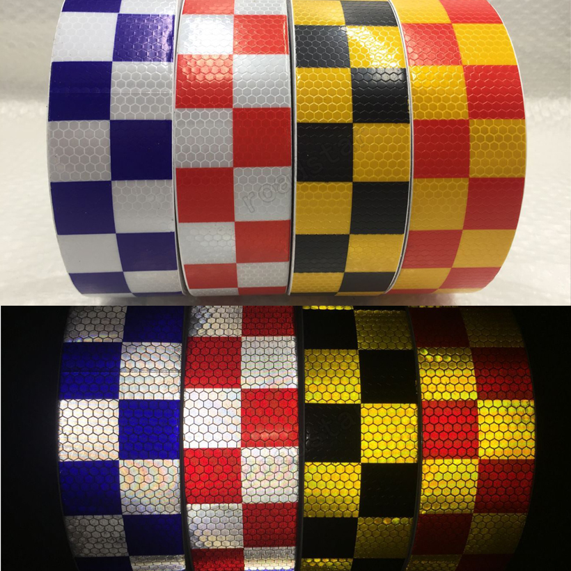 20Roll Wholesale Express Traffic Multi Color Grid Design Conspicuity Reflective Safety Warning Tape Stickers Stripe for Truck oumily reflective multi purpose paracord nylon rope cord reflective grey 30m 140kg