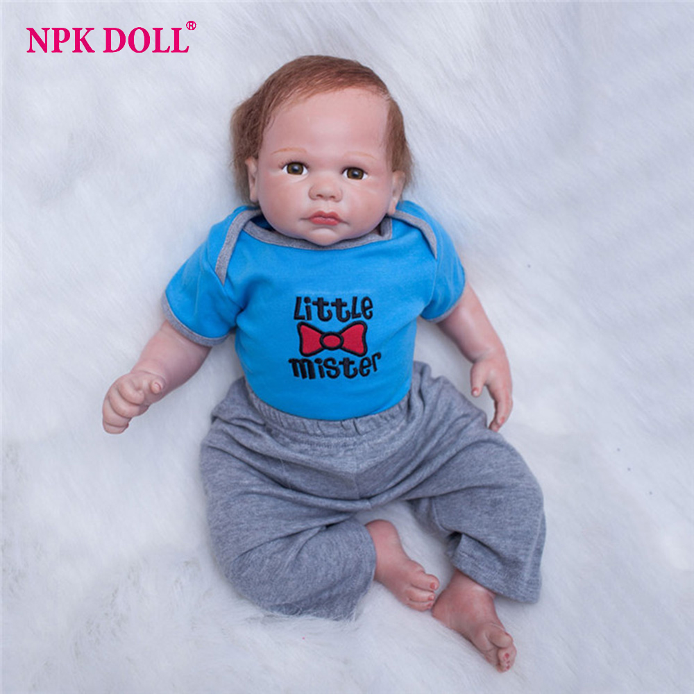 22 Inch Doll Reborn Vinyl Baby Boy Realistic Soft Newborn Doll Looking Real Doll Toys  Playmate For Kids Gift