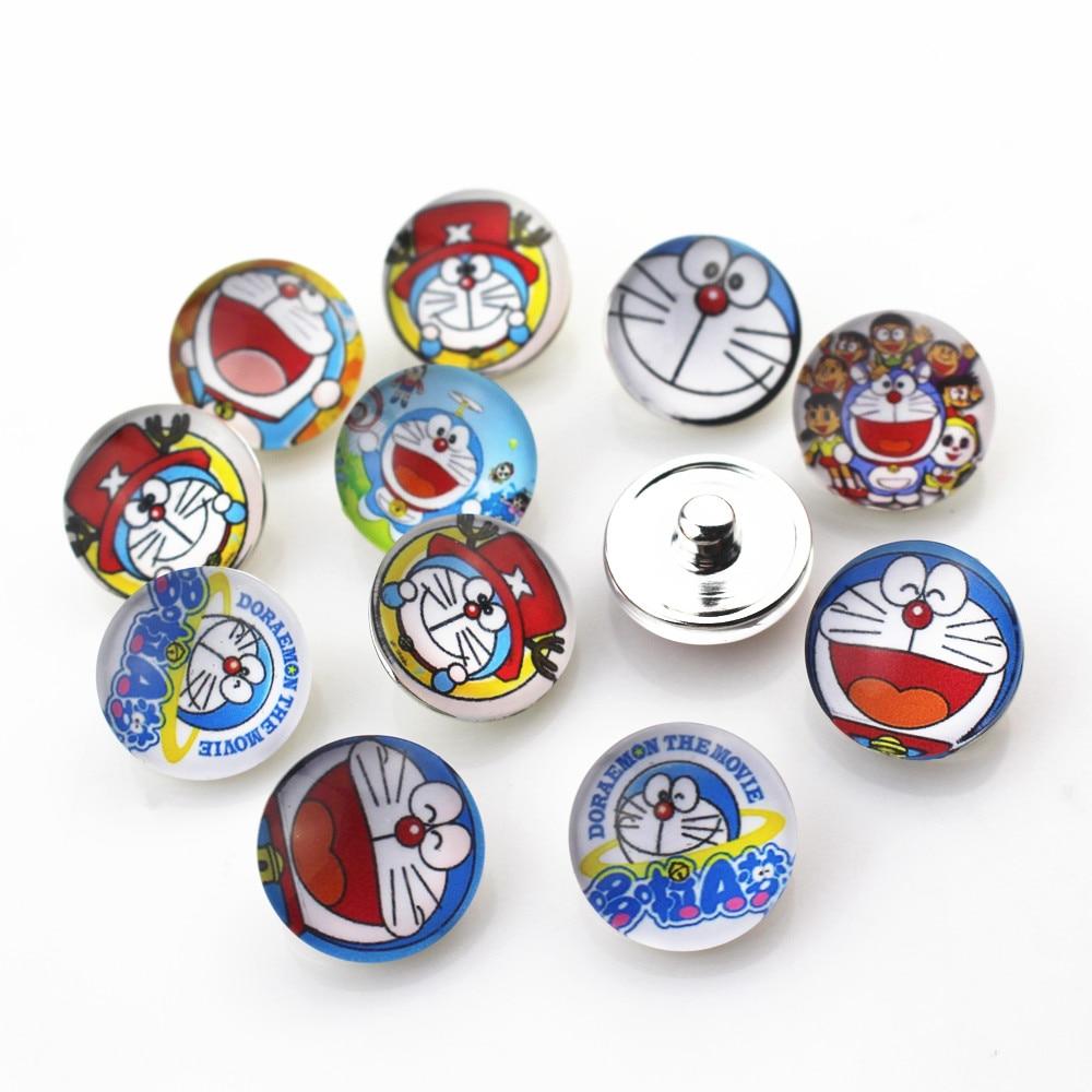 20pcs/lot Mix Glass Doraemon Snap Buttons fit 18mm Snap Bracelet&Bangles Interchangeable DIY Snap Jewelry Charms