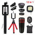 2017 Lentes 12in1 kit 12x Telefoto Lentes Olho de Peixe Grande Angular lente macro para o iphone htc samsung selfie remoto de flash tripé luz