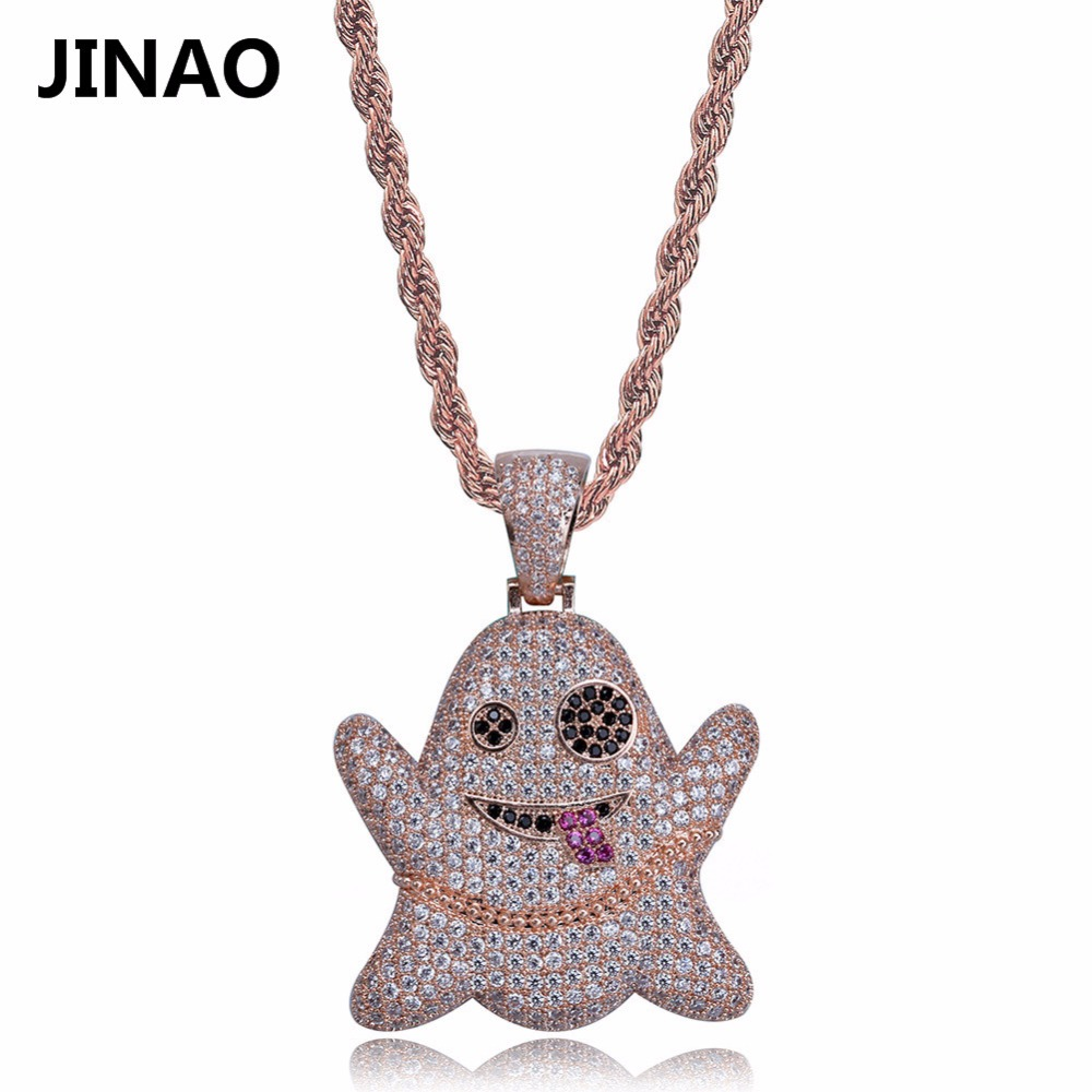 d1ba300d85 JINAO Hip Hop Iced Out Cubic Zircon Emoji Ghost Pendant Necklace Copper  Gold Silver Rose Gold Color Men Women Jewelry Gifts