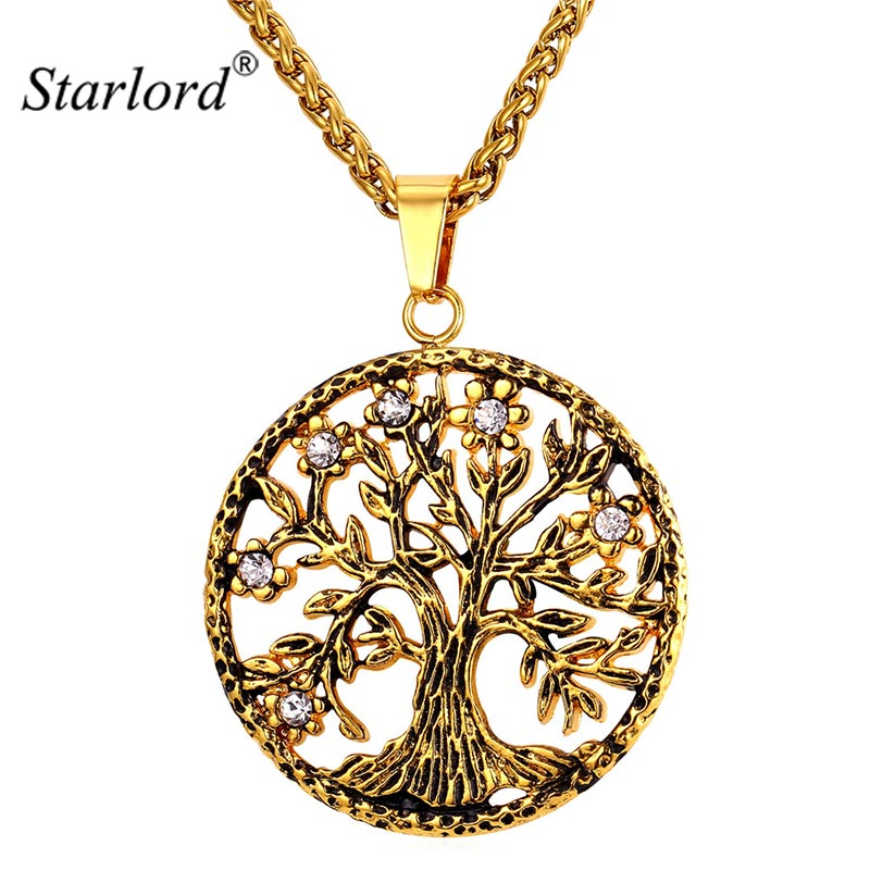 Starlord Tree Of Life Necklace & Pendant 316L Stainless Steel/Gold Color Vintage Rhinestone Coin Jewelry Men/Women GP2189