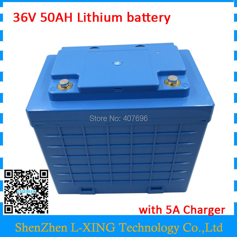 EU US no tax Battery 36V 50AH lithium battery pack high capacity 50AH 36V with waterproof case use 26650 cell 50A BMS 5A Charger free customs fee 1000w 36v 17 5ah battery pack 36 v lithium ion battery 18ah use samsung 3500mah cell 30a bms with 2a charger
