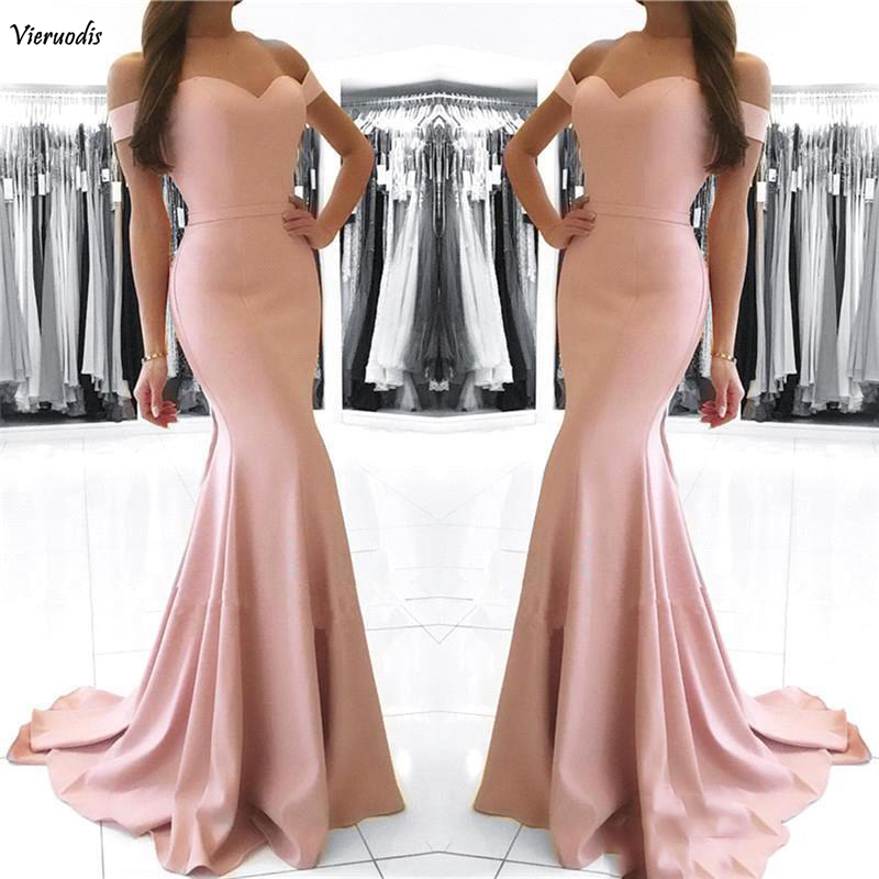 96-1          Cheap Blush Pink Mermaid Prom Dresses Long 2018 Off Shoulder Sexy Backless Floor Length Formal Dresses Evening Dresses robe de soiree