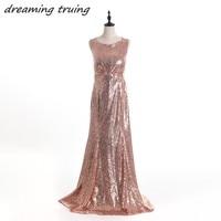 Real PicturesLong Rose Gold Sequined Bridesmaid Dresses Sparkly Women Wedding Party Dresses Vestido De Madrinha Longo