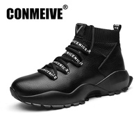 CONMEIVE luxury Brand Fashion Shoes Men PU Leather Casual Male Adult Lace Up Autumn Winter Breathable Mens Sneakers Size 39 44