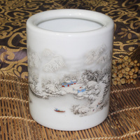Chinese Ceramic Pen Holders for Pen Painting Oil Brush Snow Pattern Desk Accessories & Organizer