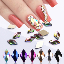 10pcs Rhombus Nail Crystals AB Rhinestones Gems Diamond Gold Bottom Flat Back Strass Stone 3D Charms Nails Accessories BE717