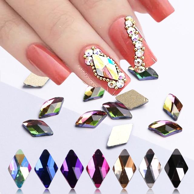 10pcs Rhombus Nail Crystals AB Rhinestones Gems Diamond Gold Bottom Flat Back Strass Stone 3D Charms