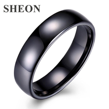 SHEON New Arrival White And Black Rings Trendy Simple Smooth Ceramic Ring for women Wedding & Engagement Jewelry Valentine Gift