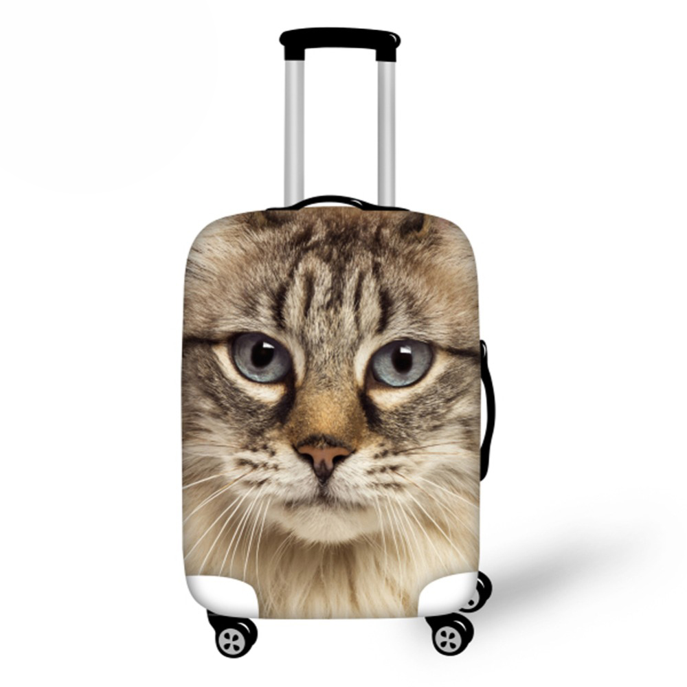 Waterproof Luggage Protective Dust Cover Cute Printing Cat Elastic Suitcase Cover To 18/20/22/24/26/28/30 Trunk Case