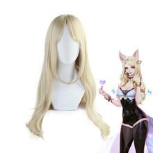 d45aca208e6 K DA Ahri Golden Long Curly Wig 80CM Cosplay Costume KDA The Nine-Tailed Fox  Women Heat Resistant Synthetic Hair Wigs