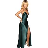 ECR004 пикантные темно зеленый Rihanna платья для женщин V средства ухода за кожей шеи спагетти бретели нижнего белья Открытой Спиной Атлас