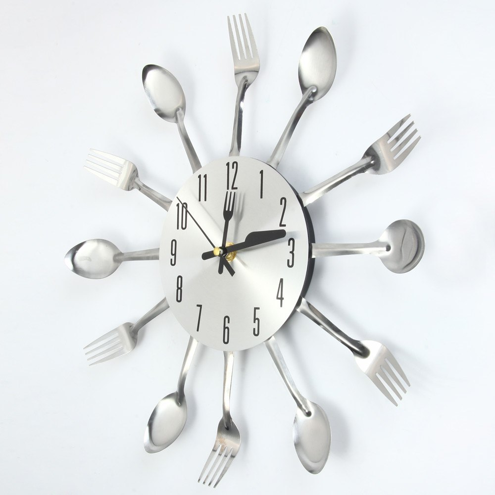 Large 3D Wall Clock Modern Design Stainless Steel Kitchen Wall Quality  Quartz Needle