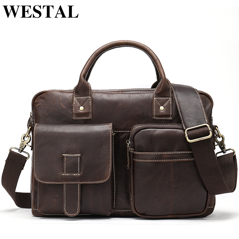 WESTAL Leather Men's Briefcase Leather Laptop Bag Men Men's Genuine Leather Office Bag For Men Business Tote For A4 Document 850