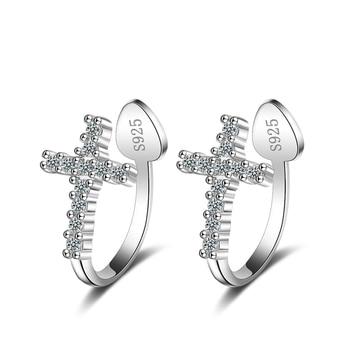 d5c4c146aecb Pequeña cruz de cristal de Zirconia S925 de plata pendientes de Clip pendientes  largos aretes pendientes