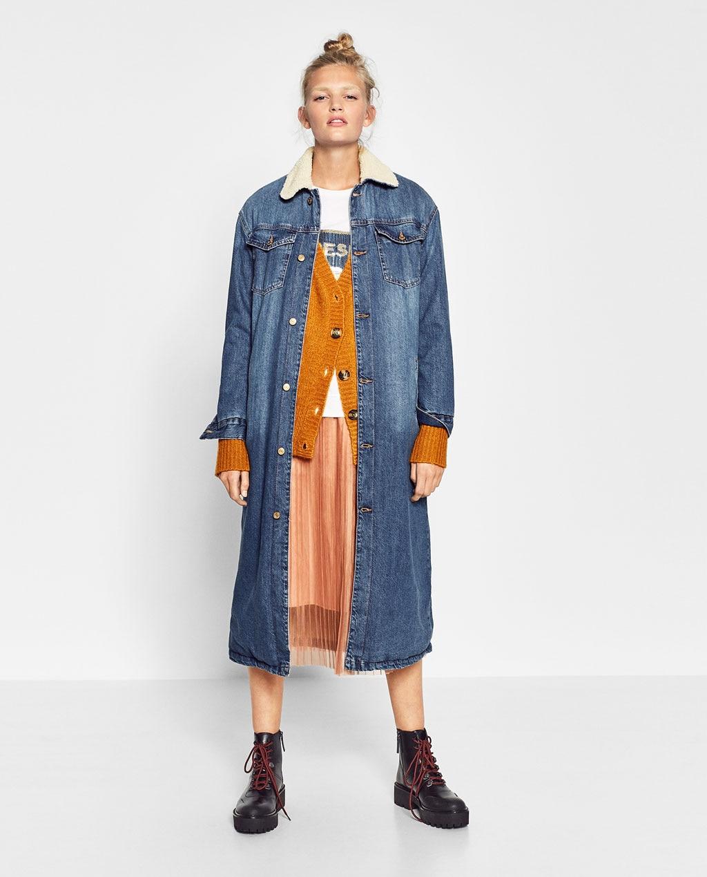 2016 Za Winter Wool Long Denim Jacket Turn Down Collar Wool Denim Jacket Long For Women Denim ...
