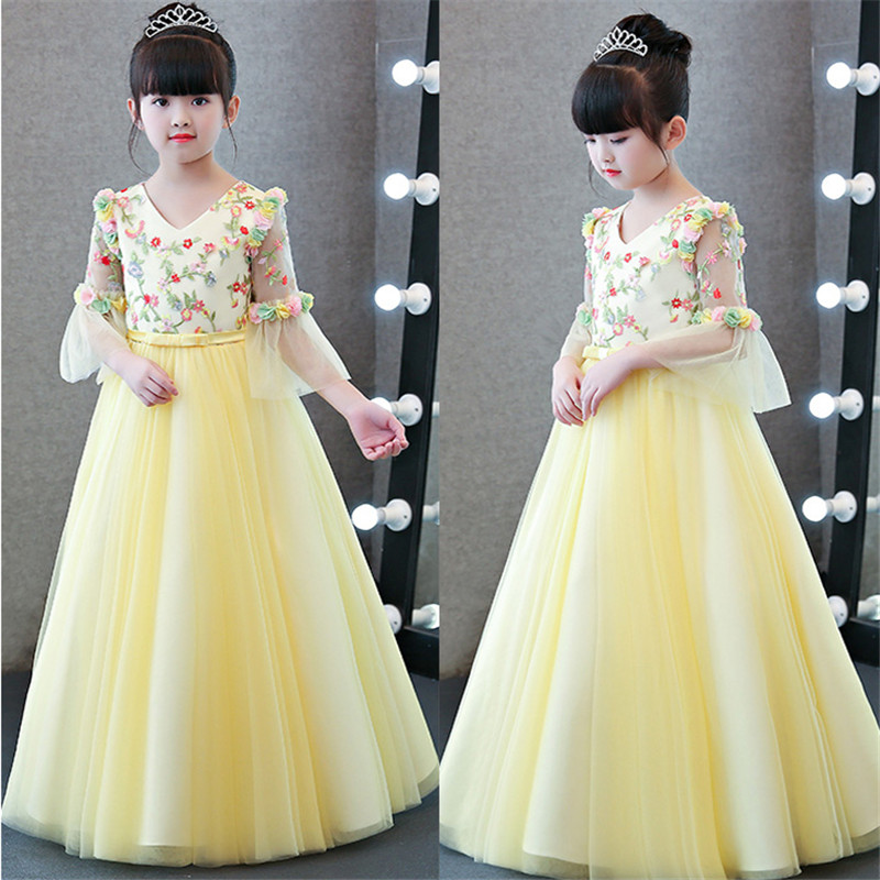 2018 New Arrival Spring Fashion Sweet Children Girls Flowers Princess Long Mesh Dress Kids Birthday Wedding Party Pageant Dress