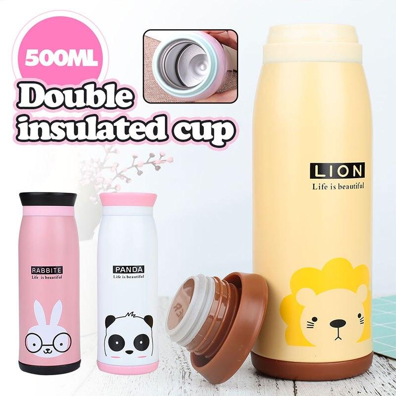 Термочашка Вакуумная чашка двухслойная мультфильм изоляционная чашка животный узор чайный напиток креативный