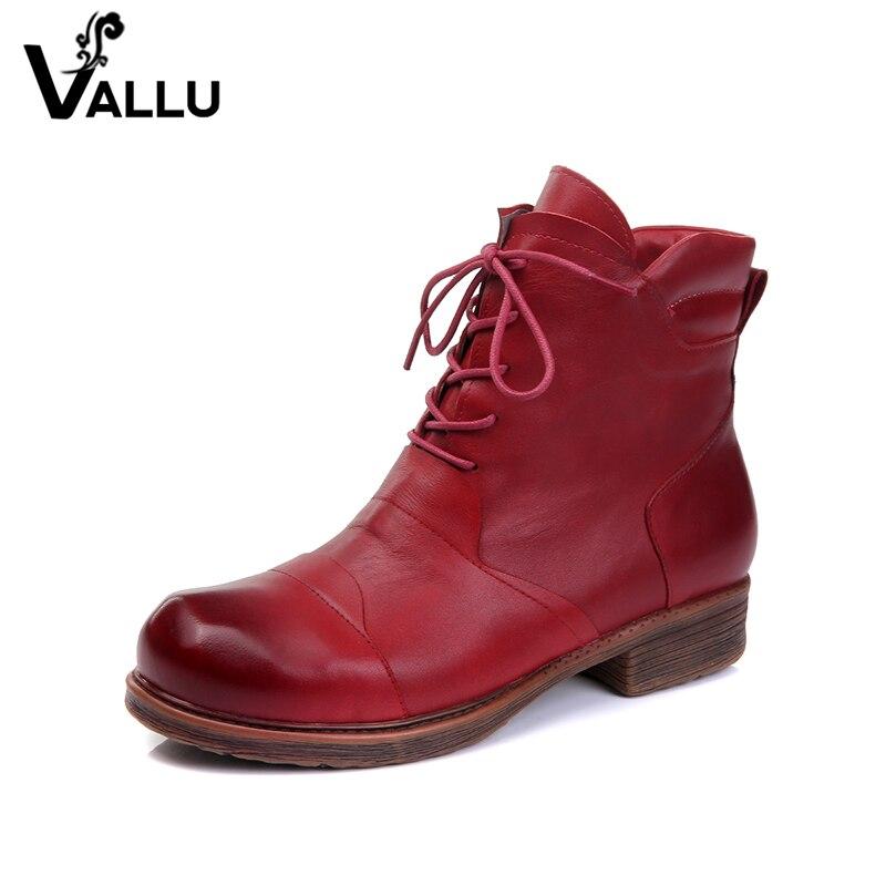 VALLU Orginal Genuine Leather Women Boots Low Heels Vintage Handmade Women Ankle Boots Martin Boots стоимость