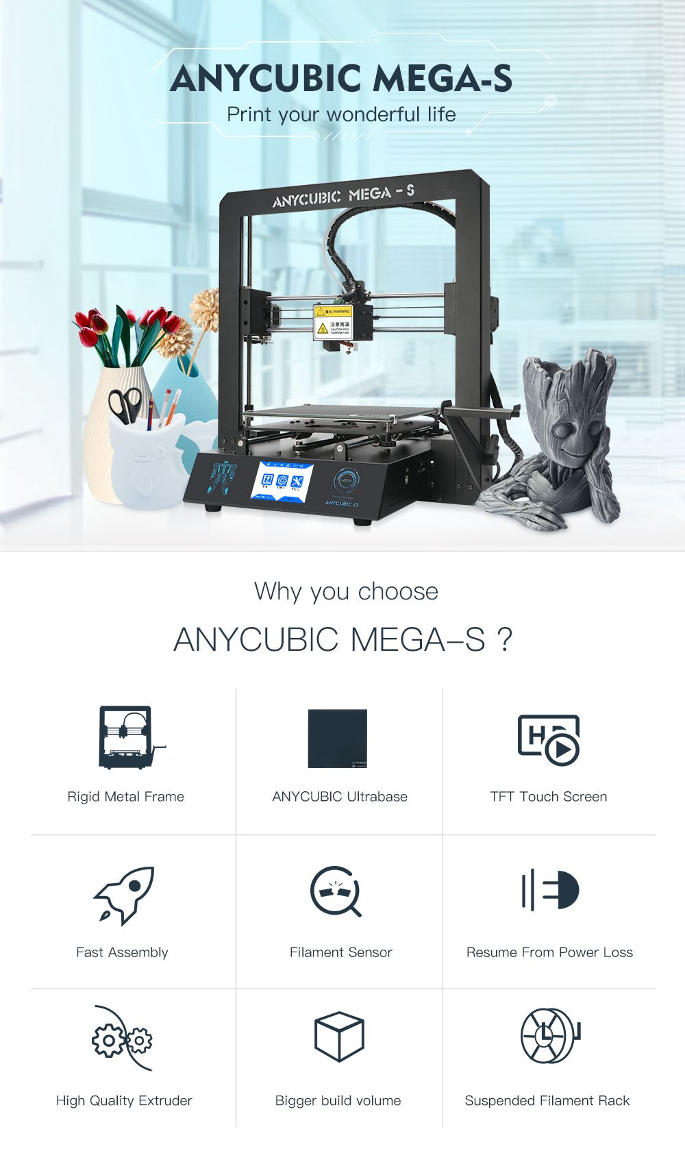 ANYCUBIC Mega-S 3D Printer Upgrade Large Plus Size Full Metal TFT Touch Screen Printer 3d High Precision 3D Drucker