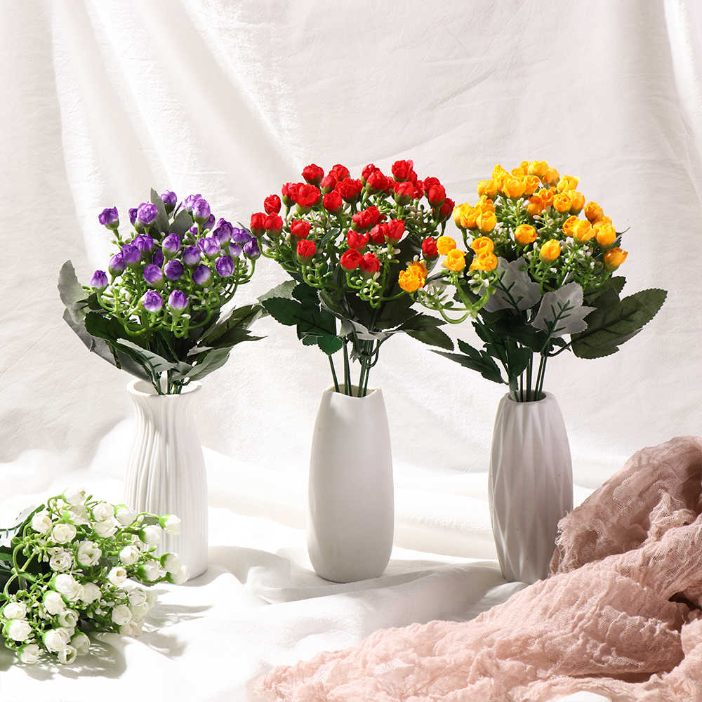 36Heads Artificial Silk Rose Flowers Bunch Small Bud Rose Wedding Home Grave Outdoor Bouquet Decorative Flower