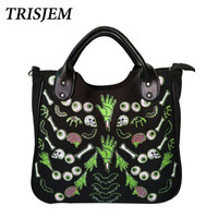 Women Gothic Skeleton Bones Skulls Bags Rock Designer Female Rock Black Women's Casual Totes Punk Bags Fashion Handbag