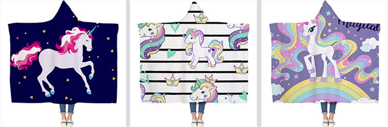 3D Unicorn Hooded Blanket