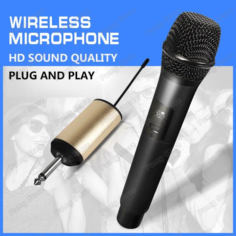 JIY Microphone universel sans fil mélangeur professionnel audio radio rechargeable U bande Microphone pour karaoké ordinateur Plug and play