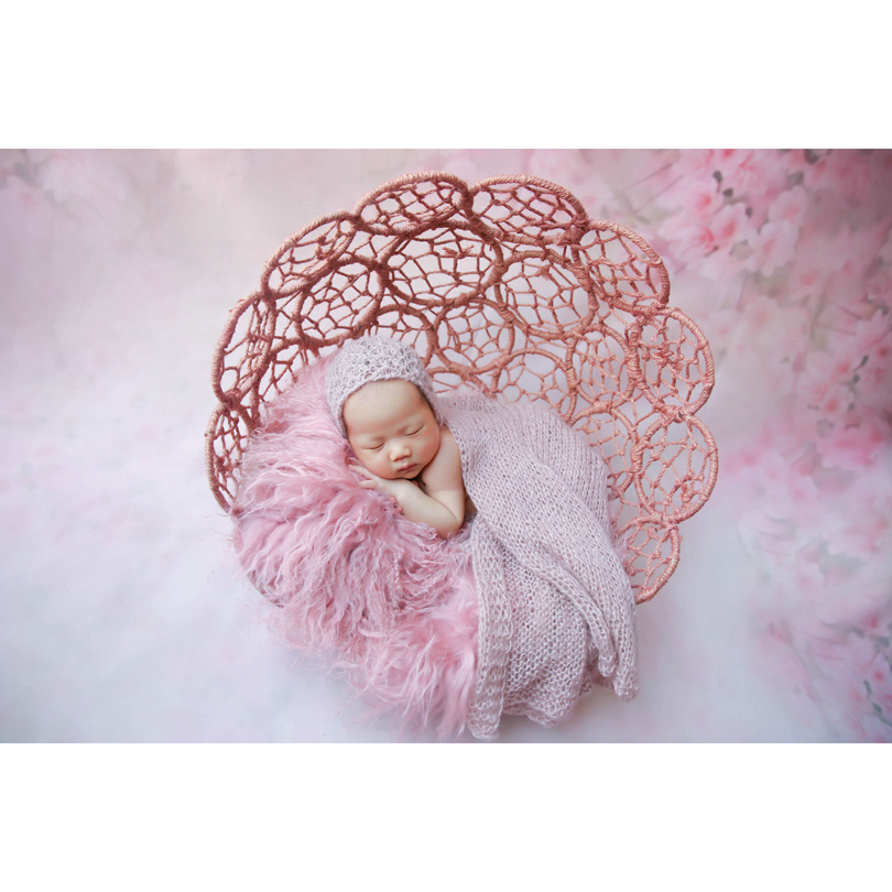 Newborn Mohair Bonnet And Wrap Full Set Photo Prop Handmade Knit Moahir Wrap Baby Soft Hat Outfit Newborn Photography Props