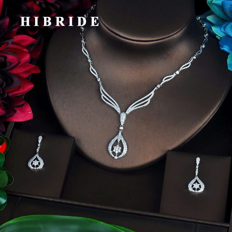 HIBRIDE Sparkling Micro Cubic Zirconia Pave Full Jewelry Sets Women Bride Necklace Set Dress Accessories Party
