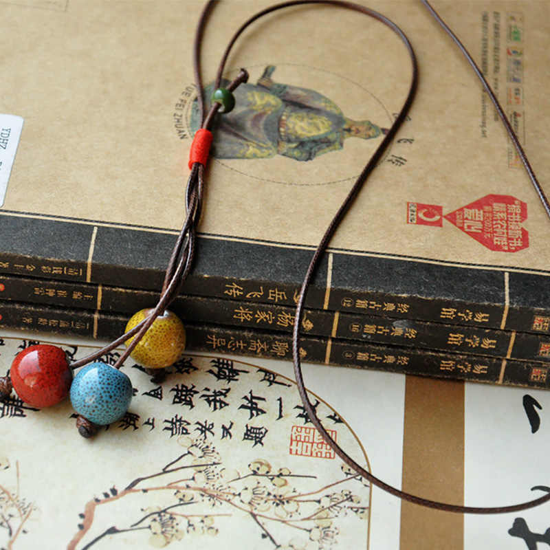 Women Ceramic Beads Pendants Necklaces Retro Sweater Chain Long Tassel Braided Rope Statement Charm Choker Jewelry Accessories