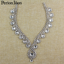 6.3 8 inch Iron-On Rhinestone necklines for V neck Clothing Crystal Iron- edeb90f00c88