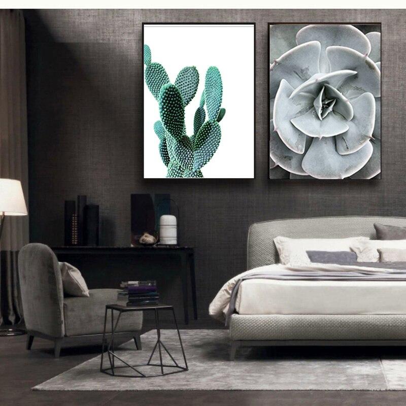 Western Decor Paint: Cactus Print Western Home Decor Minimalist Modern Art Wall