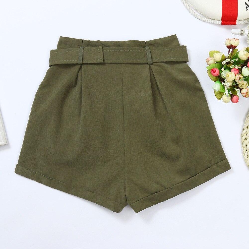 Women Girls Summer Pockets Wide-leg Green Shorts Dungarees Overalls With Belt W0314