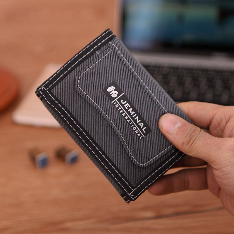 1 Pcs Casual Men Canvas Short Wallets With Coin Zipper Short Purse For Credit Card Boy Student 3 Fold Purse Carteira For Men