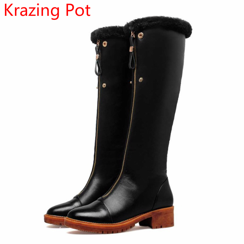 2018 Handmade Fashion Cow Leather Round Toe Thick Heel Wool Keep Warm Winter Boots Superstar Over-the-knee Thigh High Boots L21
